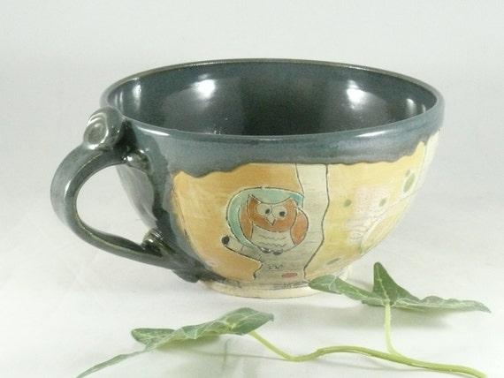 Big Green Pottery Mug,  Cappuccino Cup, Teacup, Unique Coffee Mugs, Ceramic Mug, Large Pottery Coffee Mug, Ceramic Coffee Cup   676