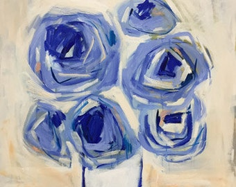 large blue and white abstract floral painting modern art contemporary design pamela munger