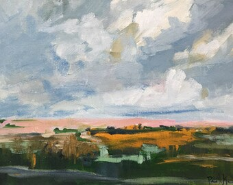 ORIGINAL abstract landscape painting green landscape art acrylic painting on paper mantel decor design cloud scape
