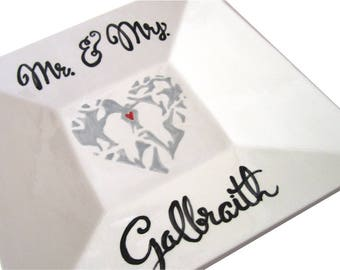 Custom hand glazed birds and heart square ceramic wedding plate Mr. and Mrs. red heart personalized