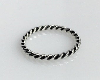 SALE Twist Ring, Braided Sterling Silver Ring