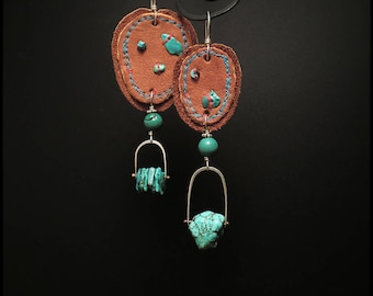 E1530 Leather and Turquoise Asymmetric earrings