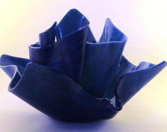 Vase Candle Set - Dark Blue Royal Blue Opal Vase & Dish with Free Spring Rain Soy, Paraffin Wax Blend, Paper Core, Self-trimming Wick Candle