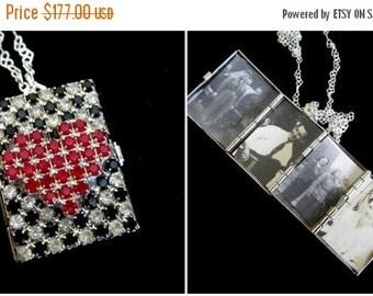ON SALE A Shining Heart - Vintage Rhinestone Locket Necklace