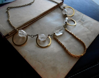 halo - bright gold and crystal bib necklace - elegant crystal quartz collar necklace occult queen necklace bright shiny gold