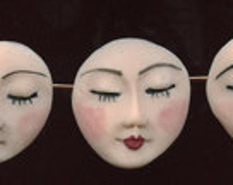 "Lot of 3 fleshtone face beads, side drilled, detailed 1"" x 7/8"" NAFB 2"