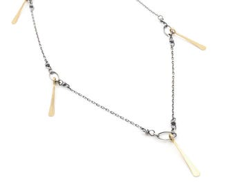 Mixed Gold Bar Necklace- sterling silver, gold fill.