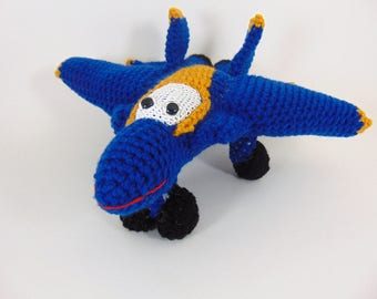 f18  Blue Angels hornet aircraft ,  Crocheted Amigurumi Military f18  blue angels hornet airplane , stuffed airplane toy      MADE To ORDER