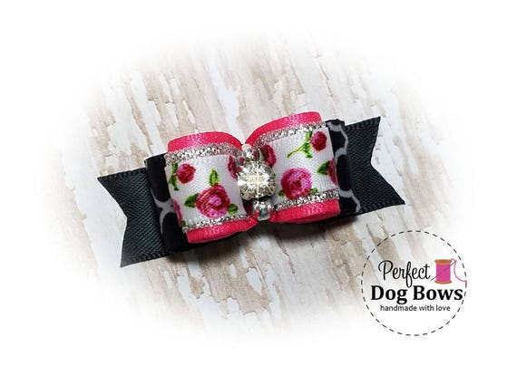 Dog Bow - Roses Pet Hair Bow - Flowers Dog Bows - Pet Accessory
