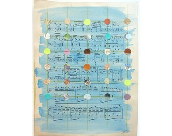 Mixed Media Art, Dots, Dot Pattern, Blue and Green Art, Pattern, Antique Sheet Music, Painted Piano Music, Teacher Gift, Found Ephemera Art