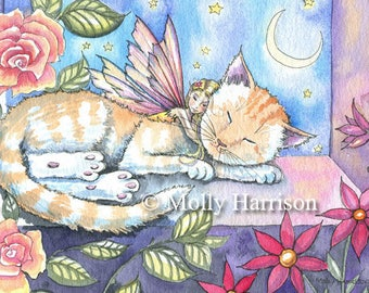 Night in the Garden Room - Sleepy Fairy with Cat  Fine Art Giclee Print by Molly Harrison 5 x 7