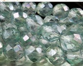 50% OFF Clearance 12mm Faceted Czech Glass Beads Pale Green Luster  - 8 (G - 61)