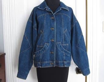 Vintage 80's Jean Jacket Women's Size Medium M Denim Weathered Blues Pockets Elbow Patches