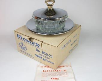Vintage Kromex Serving Dish in Box Serva-Dish Vogue Giftware Lidded Condiment Candy