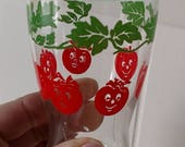 New Roof SALE vintage tomato juice glass with faces