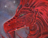 Aceo print  the Red  dragon Fantasy art  trading card by Renee L. Lavoie