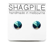Super Mini Button Stud Earrings - Aqua, Navy, Beige + White Geometric - Tiny Earrings - Handmade in Melbourne