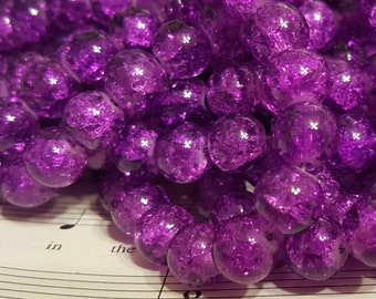 Crackle Glass Beads - 10mm - 40 Beads -  Purple Crackle Glass Beads - Purple Crackle Beads