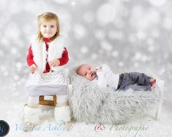 SIBLING SET.. girls skirt-- boys suspender bow tie onesie ..grey and white chevron and polka dots. Christmas holiday wear