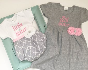 Big Sister Little Sister OUTFITS .. Shabby chic Pink and grey dress and Bubble romper -sister Set..new baby..baby shower