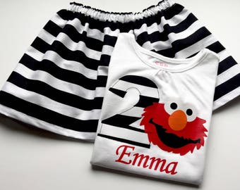 ELMO Birthday outfit... Sesame street inspired..black and white striped skirt...Your child's name in red and striped Birthday Number