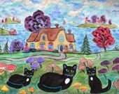 ORIGINAL PAINTING, Black Momma Cat with Mushrooms at her Cottage by the Bay, by D M Laughlin