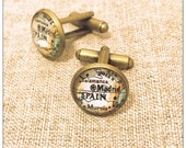 Vintage Spain Map Cufflinks -  Cufflinks Salamanca - Madrid Cufflinks - Bitty Cufflinks - glass cufflinks - Gift for Him