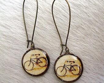 Bicycle Earrings - Bike Earrings - Vintage Copper Penny Earrings - bike lover - gift idea for girlfriend - Lucky Penny