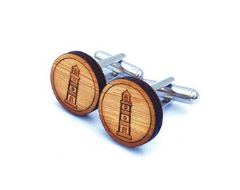 Lighthouse Cufflinks. Nautical Cufflinks. Wood Cufflinks. Groomsmen Gift. Groom Gift. Gift For Men. Mens Gift. Gifts For Dad. Gifts Under 25