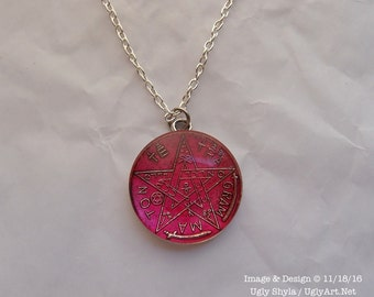 Hot Pink Tetragrammaton Occult Charm Necklace by Ugly Shyla - protection - good fortune - goth - witch - pagan
