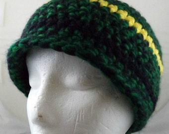 Green, Yellows, and Black Beanie (medium) (SWG-HBEN-M05)