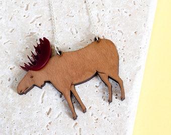 Moose Necklace - Moose gift - moose jewellery - moose jewelry - moose gift - Animal Necklace -  Moose Pendant - Elk Necklace - Elk Jewelry