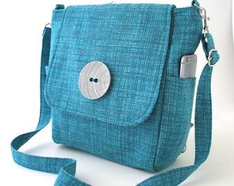 blue backpack bag converts to messenger bag, womens backpack, zipper purse, crossbody sling bag, shoulder tote bag, fits Ipad