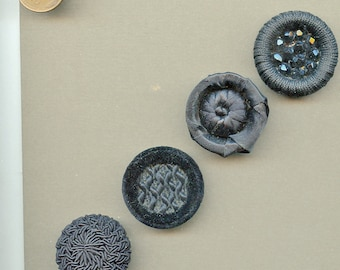 "Vintage Lot (4) Black Fabric Buttons Couture Beaded Crochet Crocheted Satin Velvet 1 1/4"" 3318"