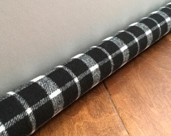 PLAID door draft stopper, draft snake, wool window tube
