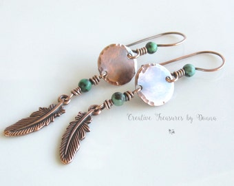 Southwest Copper Earrings Turquoise Gemstones Tierra Cast Copper Feather Charms