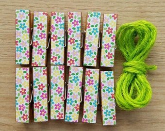 Summer Flowers Clips w Twine for Photo Display - Chunky Little Clothespin Set of 12 - Gifts For Her - Gifts Under 10