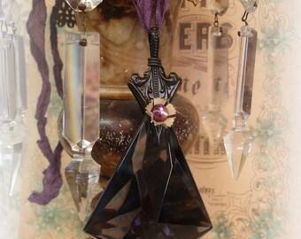 chandie room pendant vintage assemblage large vintage amethyst glass chandelier prism arrow bail enamel flower mirrored cab