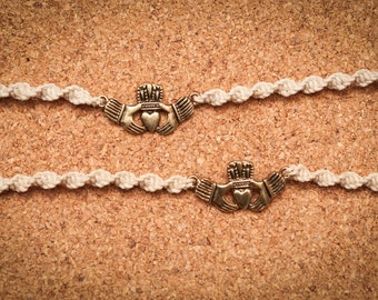 Ivory and Gold Claddagh Tie-On Bracelets