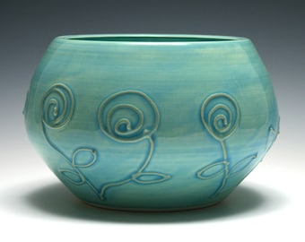 Large Turquoise Bowl, Swirl Flower Design, Turquoise Pottery, Home Decor, Handmade Ceramics