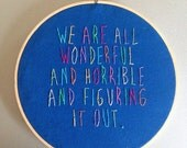 Etsyversary wonderful and horrible - hand drawn and embroidered Harris Wittels wall hanging