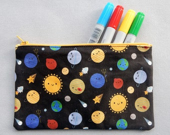 Kawaii Fabric Pencil Case - Solar System, Space
