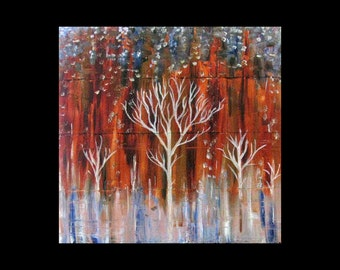 Home Decor Living Room Decor Abstract Art Nature Landscape 24 x 24,12 x12 Canvas Giclee of Copper Painting is a whole new art form Tree Ice