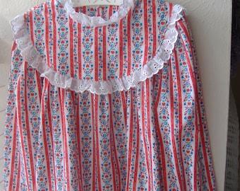 Red White Stripe Flannel Girls' Nightshirt, Long Sleeve