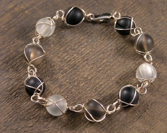 Frosted black, grey and white beach glass beads silver wire handmade bracelet