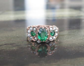 SALE Victorian 10K Rose Gold Emerald Paste and Seed Pearl Ring Size 6