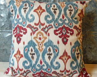 Envelope Style Decorative Pillow Case in Shades of Beige and Brown, Blue, Red, and Gold