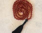 Knotted Mala, Mala Necklace, Tassel Necklace, Carnelian Mala, Red Mala, Yoga, Meditation