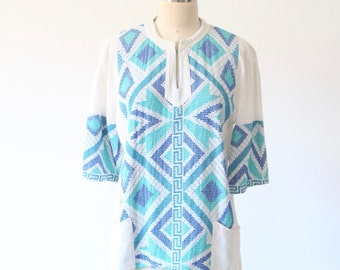 Grecian Gauze Top with Blue Embroidery