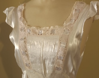 Medium 36 Bust 1940s Vintage Off White Rayon Nightgown Pink Lace Trim with Ribbons Pin Up Burlesque Viva Las Vegas